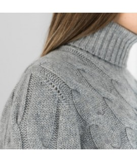 Ladies Cashmere Turtle neck with cable knit