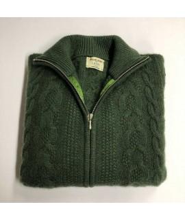 Cashmere cable knit zip jacket