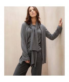 Cashmere Poncho with Leather fringes